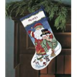 """Santa & Snowman Stocking Counted Cross Stitch Kit-16"""" Long 14 Count"""