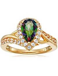 Sterling Silver with Yellow Gold Plating Mystic Fire Topaz and Created White Sapphire Pear Ring, Size 7