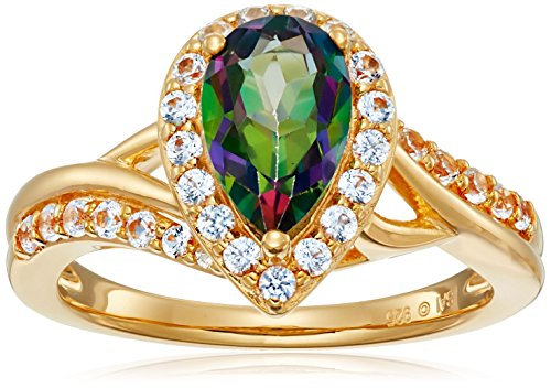 Mystic Collection (Sterling Silver with Yellow Gold Plating Mystic Fire Topaz and Created White Sapphire Pear Ring, Size)