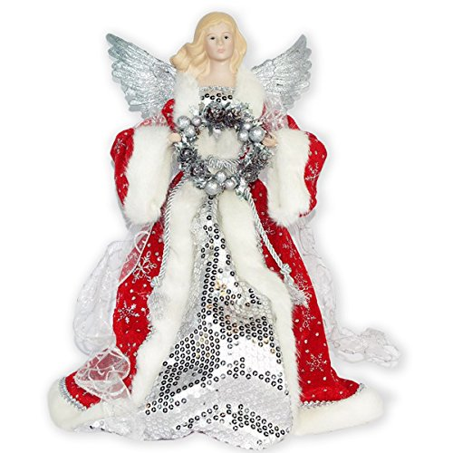 Silver Color Sequin and Wreath Angel 16 inch Plush Christmas Tree Topper Decoration
