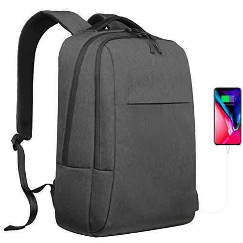 YsinoBear Laptop Backpack Business School Bag Daypack Waterproof School Rucksack with USB Charging Port Computer Bag for Men Women College Work (Dark Grey) by YsinoBear