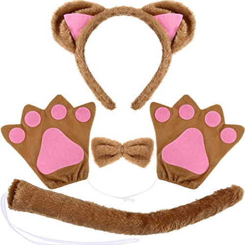 WILLBOND 10 Pieces Cat Costume Set, Include Cat Ears Headband, Cat Bow Tie, Cat Tail and Cat Paw Gloves for Halloween or Costume Party Decoration (Size B, Brown)