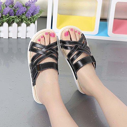 À RDJM Sandales À Cuir Sandales Sandales Talons Sabots Black Pantoufles Ouvert Bout Femme En Chaussures Mules Plateforme À rqBgrP