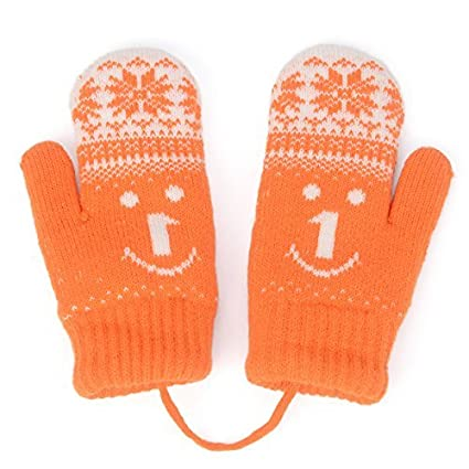 4ae50ce12686 Amazon.com  HomeDay Kids Winter Knitted Mittens with String Thicken ...