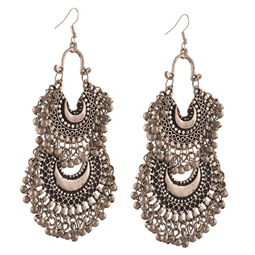 Zephyrr Fashion German Silver Turkish Style Beaded Chandbali Earrings for Women For Girls and Women