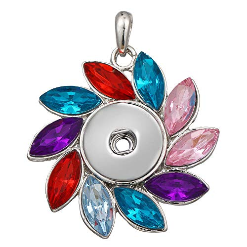 Hot Women Crystal Jewelry Necklace Pendant Fit 18mm Noosa Snap Button N306