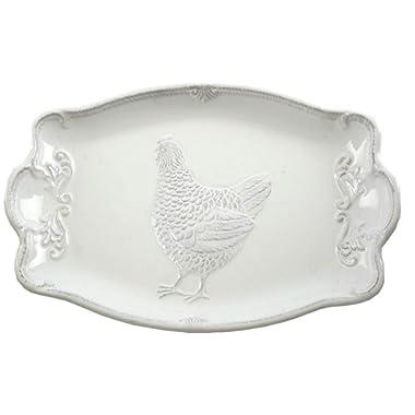 Farmhouse Rooster Embossed Ceramic Serving Platter