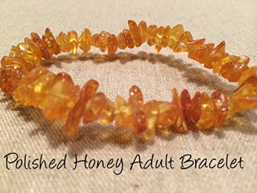 Arthritis Bracelet 8 Inch Carpal Tunnel Swelling Baltic Amber anti-inflammatory Adult polished Honey Stretch Man Woman Certified Authentic Back, Head & Tooth Aches. (Amber Tree)