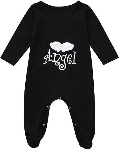 Winverano bebé niños niñas Letra Bordado ángel ala pies Pelele Pijama Toodler algodón Body Tops 18-24 Meses: Amazon.es: Ropa y accesorios