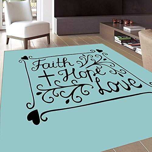 Rug,Floor Mat Rug,Hope,Area Rug,Hand Lettering Spiritual Faith Hope Love Quote with Floral Arrangement Hearts,Home mat,3'x5'Pale Blue and Black,Rubber Non Slip,Indoor/Front Door/Kitchen and Living Roo ()