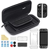 iAmer 11 in 1 Starter Kits for Nintendo Switch, Carrying Case for Switch+Transparent Switch Cover+3pcs Switch Screen Protector+Silicone Joy-Con Gel Guards+Thumb Grips Caps+ Game Card Case+Screen Wipe