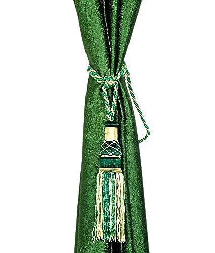 Homefab India Tassels Embroidered 2 Piece Polyester Curtain Tie Back - Dark Green