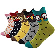 Women's Lady's Cute Owl Design Cotton Socks,5 Pairs