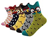 Women's Lady's Cute Owl Design Cotton Socks,5 Pairs Multi Color One Size