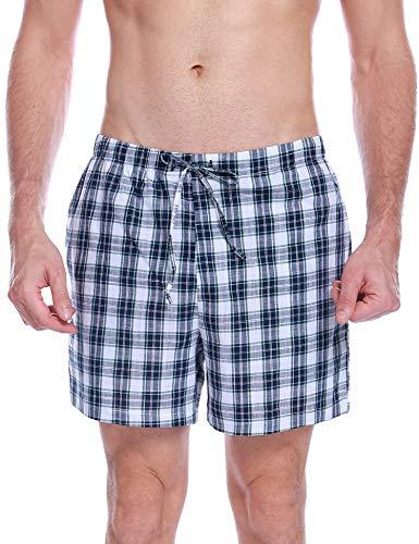 Aibrou Mens Sleep Shorts Cotton Pajama Shorts Knit Sleepwear Lounge Shorts with Pockets