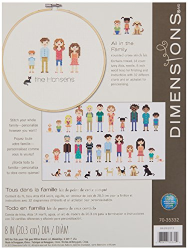 (Dimensions Customized Counted Cross Stitch Family Portrait Kit, 8