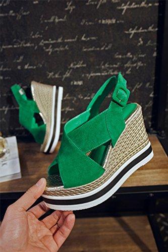 HN Altos Shoes Cuñas Green Negro Hebilla Mujer Verano De Tacones Plataforma Sandalias Para rrgzHqZn