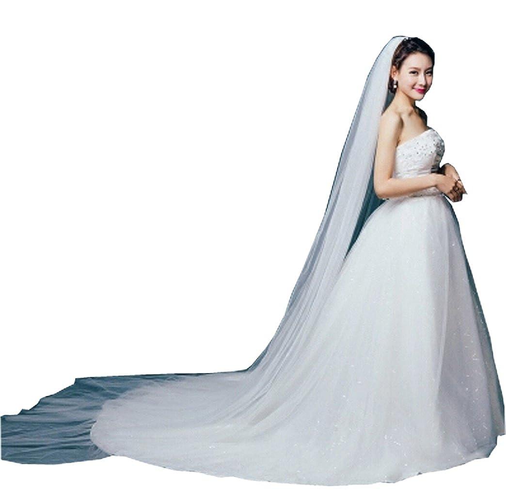 a 2 strati Velo da sposa in stile cattedrale elegante con pettine con bordi tagliati