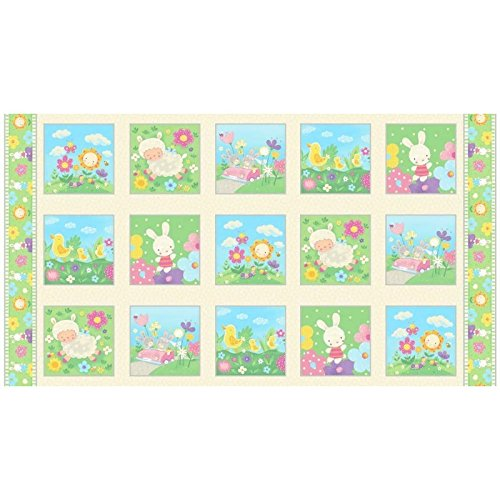 Blank Quilting Fabric (Premium Cotton Fabric - Blank Quilting Spring Fling 8375-41: Picture Blocks Panel - Baby Lambs, Bunnies & Birds)
