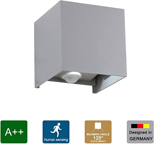 Klighten Lámpara de pared de 12W con detector de movimiento, haz de luz ajustable IP65 6000K lámpara de pared blanca fría para exteriores para pasillo de escalera, gris claro: Amazon.es: Iluminación