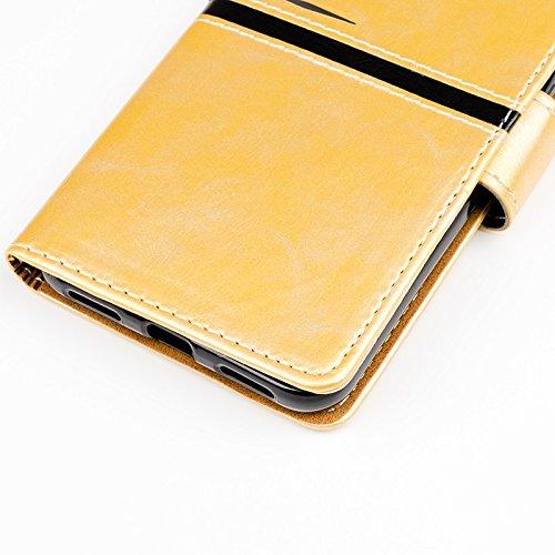 YAJIE-Carcasa Funda Para Huawei P8 Lite (2017), diseño de cierre magnético de la PU del remiendo de la carpeta del tirón de la caja protectora con el soporte de la ranura para tarjeta ( Color : Rose G Gold