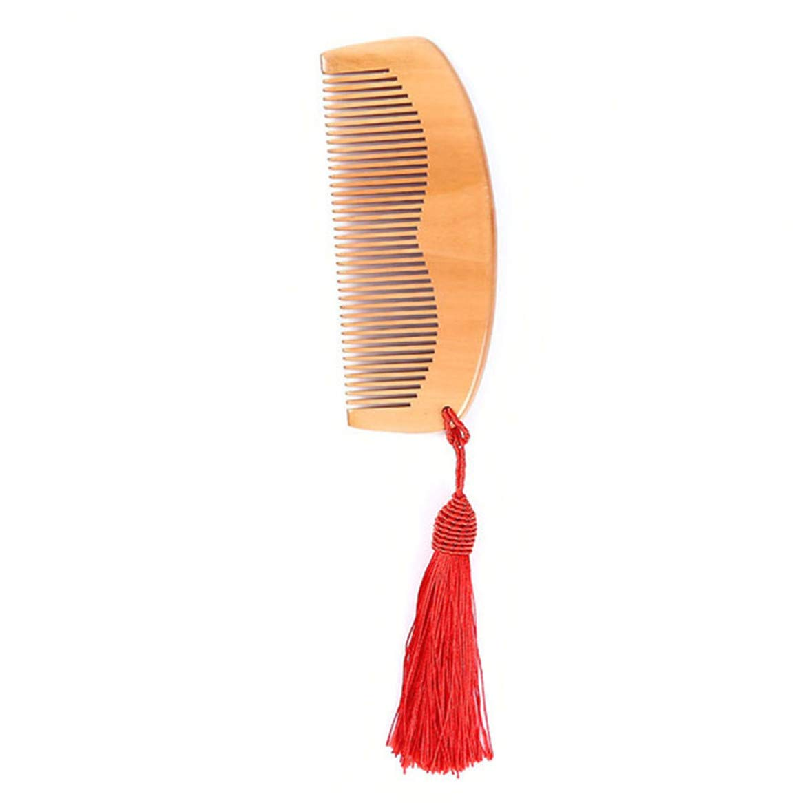 Botreelife Natural Peach Wood Comb with Tassels Anti-static Massage Hair Carved Combs (Brown)