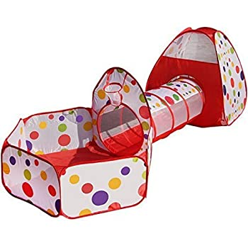 Truedays 3 in 1 Portable Pop up Playhouse Kids Play Tent with Tunnel Ball Pit Indoor and Outdoor Toy