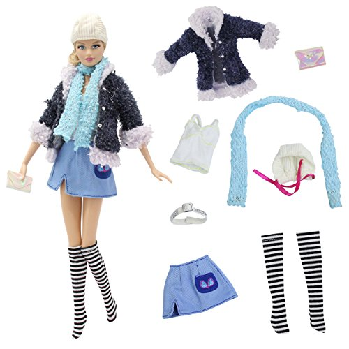 8 PCS Daily Fashion Outfits Clothes with Skirt, Hat & Scarf for Barbie Doll - by ZITA ELEMENT