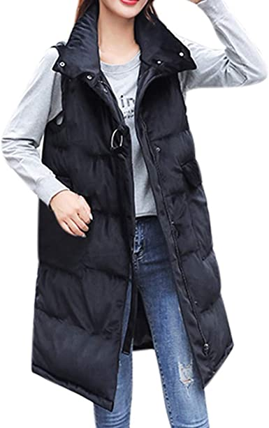 SELX Women Zip Up Slim Fit Warm Thicken Fall-Winter Down Vest Quilted Waistcoat
