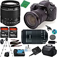 Canon EOS 7D Mark II Camera with 18-55mm IS STM Lens + 55-250mm STM + 2pcs 16GB Memory Card + Camera Case + Card Reader + Tripod + 6pc Starter Set - International Version