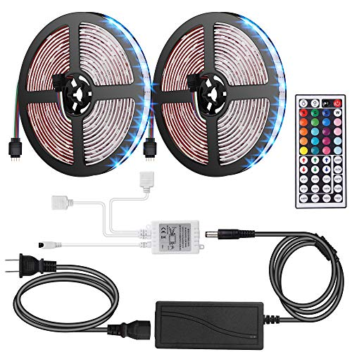 ANOOVV Led Strip Lights Waterproof, DC12V 33Ft 300leds 5050RGB Led Light Strip with Flexible 3M Tape IR DIY Controller 44Key Remote, 5A Power Supply for Kitchen, Bedroom, Sitting Room -