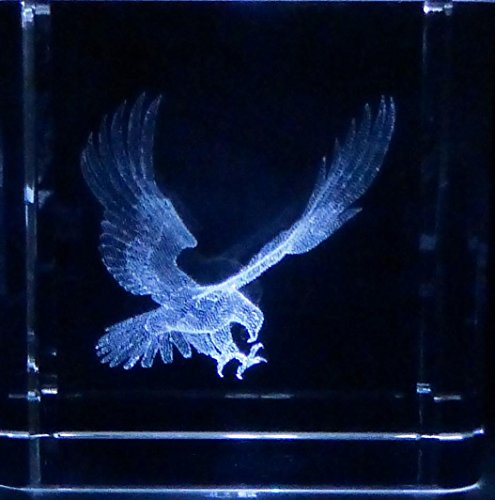 (3D Laser Etch Glass Crystal Eagle 2 Inch Square & Gift Box )