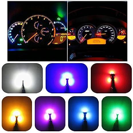 verde, rosa, blu, rosso, bianco, blu ghiaccio, giallo WLJH T5 74 37 LED cuneo lampadina Canbus senza errori strumento pannello Speedo gauge cluster indicatore luce confezione da 10