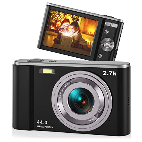 """44MP Small Digital Camera for Photography Beginners, 2.7K Vlogging Camera 2.88"""" IPS 16X Digital Zoom Rechargeable Point and Shoot Camera for Kids Teens Christmas,Thanksgiving Days,Birthdays Gift"""