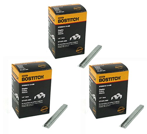 BOSTITCH STCR50191/4-6M 1/4-Inch by 7/16-Inch Heavy-Duty PowerCrown Staple (6,000 per Box) (3 Pack)