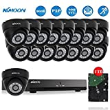 KKmoon 16CH 1TB HDD NVR DVR 960H/D1 Security Video Recorder with 16-Piece 800TVL Dome Cameras, 60ft IR LED Night Vision, IR-CUT Night View CCTV IP Camera, Smartphone View Support, Plug and Play