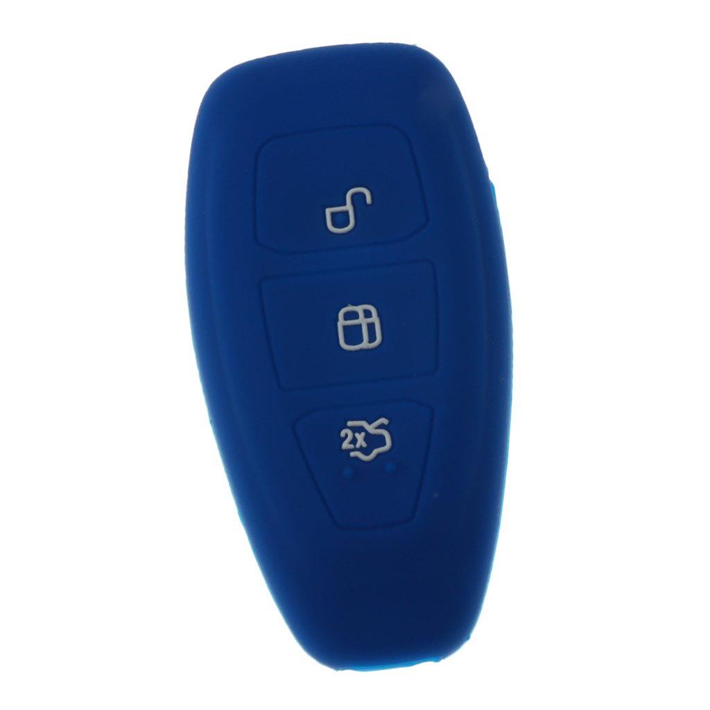 Sharplace Funda de Fob de 3 Botones Caso de Silicona de Clave Control Remoto para Automoviles Azul Profundo