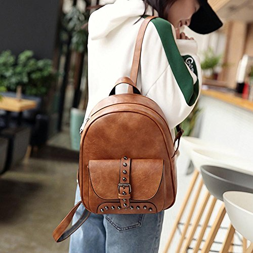 Negro Backpack Travistar Widewing PU Compuesto Marrón Casual Claro Mochilas bolsos Shoulder Women Mujer 3pcs Rivet Set Bolsos Uf6Fwqg