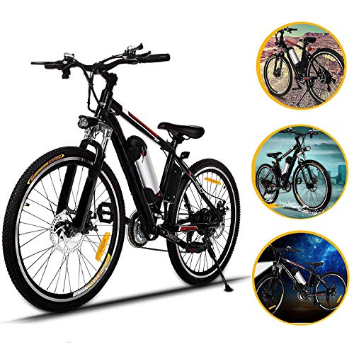 Oanon Electric Bicycle Mens Mountain Bike with 36V Lithium-lon Battery, 250W Power Plus Shimano 26 Speeds Suspension Fork Mountain E-Bike