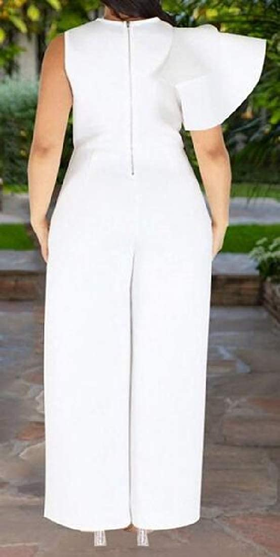 WAWAYA Women Wide Leg Palazzo Pants Plus Size Sleeveless Solid Jumpsuit Romper