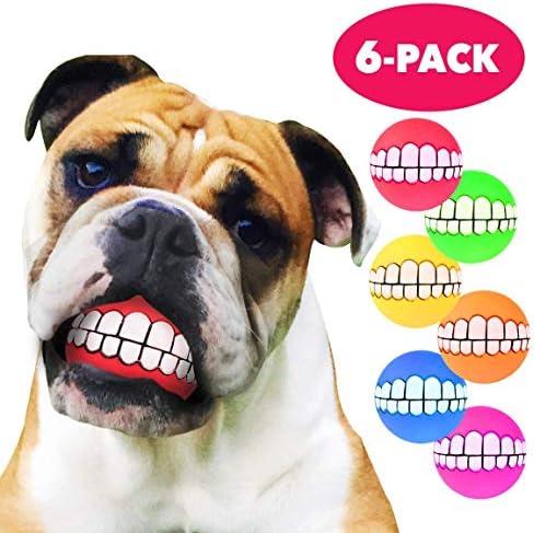 VIVIVIA - Pelotas para Perros Divertidas – 6 Unidades – Juguetes para Perros Enredados – Pelota Sonriente para Dientes de Perro – Goma termoplastificada Duradera y Duradera – Caja Fuerte ecológica: Amazon.es: Productos para mascotas