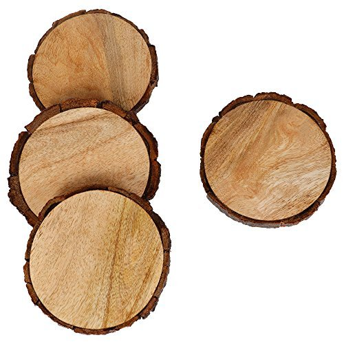 Wood Drink Coasters (GoCraft Natural Wooden Coasters with Tree Bark, Mango Wood Coasters for your Drinks, Beverages & Wine/ Bar Glasses (Coasters Set of 4))