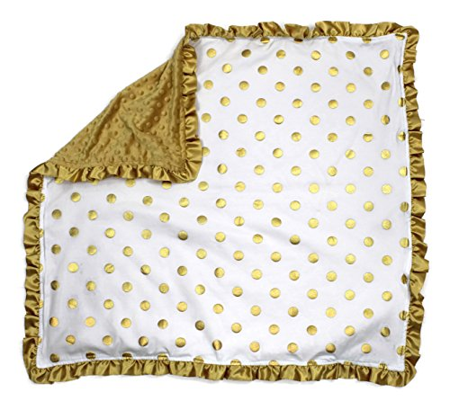 (Dear Baby Gear Baby Blankets, Polka Dots Gold on White, Gold Minky)