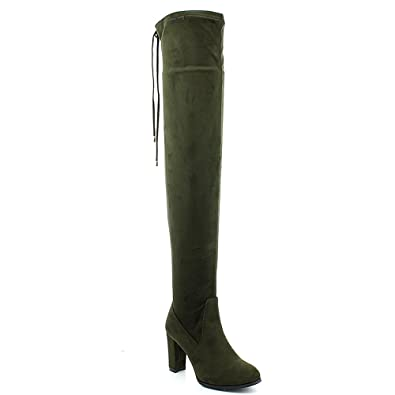 354f5a970237 Refresh Women Faux Suede Thigh High Chunky Heel Drawstring Boot FI91 -  Khaki Faux Suede (