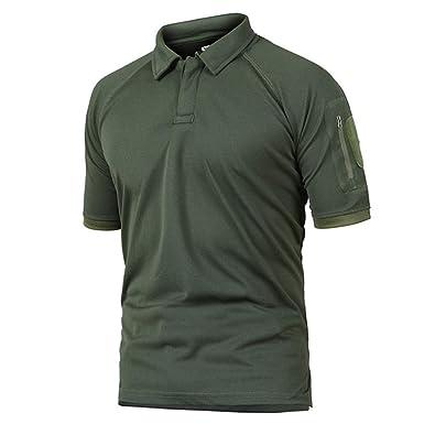 MARRTKE Camisa Polo táctica Militar de Verano para Hombre, con ...