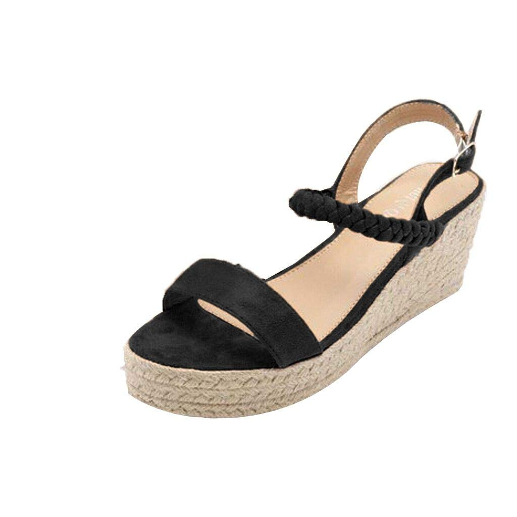 Wedge Sandals THENLIAN Summer Women's Wedges Flats Open Toe Shoes Ankle Belt Buckle Fish Mouth Sandals(43, Black)