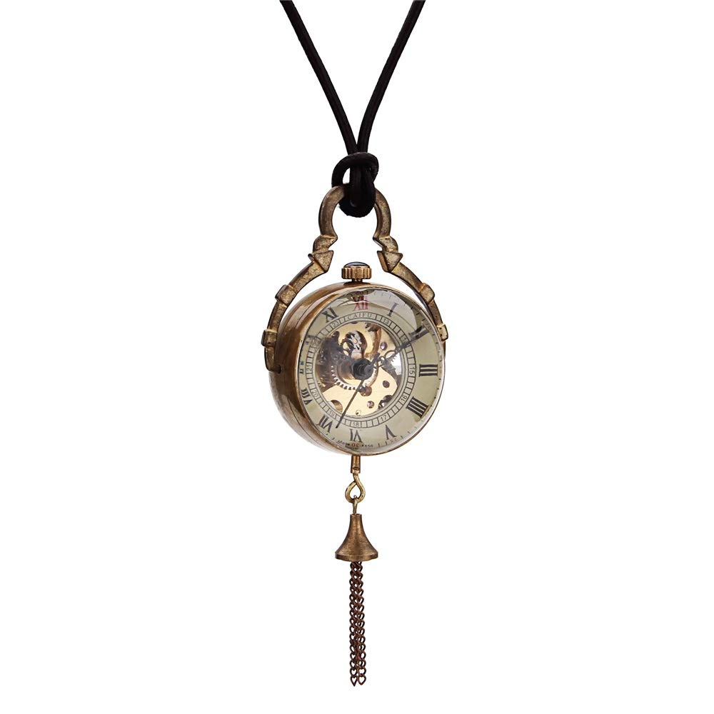 KIMIBen-watches Vintage Pocket Watch Ball Lanyard Hollow Retro Mechanical Pocket Watch Creative Classic New Couple Mechanical Watch for Men Women (Color : Gold, Size : 4.7x1.5cm) by KIMIBen-watches