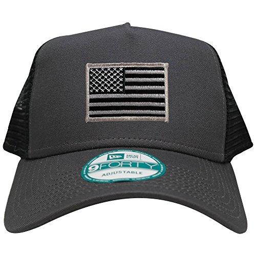 New Era 9FORTY 5 Panel USA Flag Patch Snapback Trucker Cap - GRAPHITE - BLACK GREY