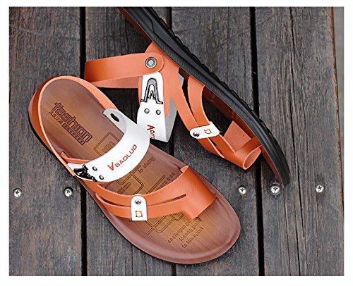 Sommer Das neue Jugend Leder Sandalen Männer Flip Flops Schuh Rutschfest Sommer Trend Strandschuhe Sandalen ,braun,US=10?UK=9.5,EU=44?CN=46