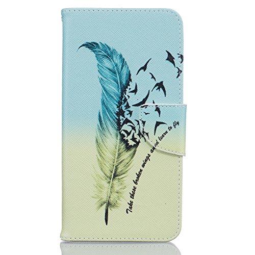 Voguecase® für Apple iPhone 7 Plus hülle,(Grün Gefieder 02) Kunstleder Tasche PU Schutzhülle Tasche Leder Brieftasche Hülle Case Cover + Gratis Universal Eingabestift